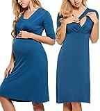 HOTOUCH Damen Umstandskleid Mutterschafts Kleid Schwangerschaftskleid Nachthemd Pfau Blau S