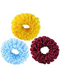 Sarah Set Of 3 Rubber Band For Women - Maroon, Blue & Yellow