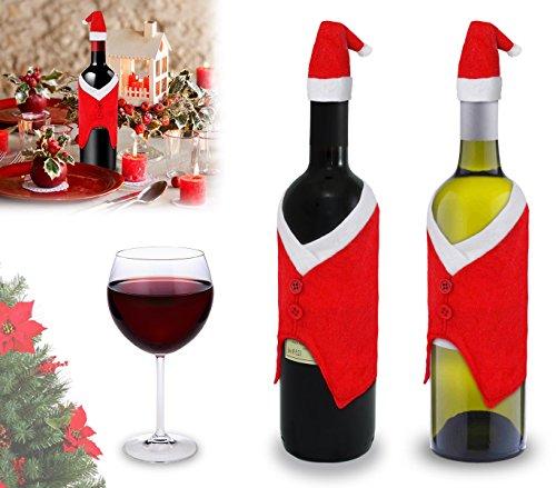MEDIA WAVE store 86765 Set 2 copribottiglia Natalizi Vestito da Babbo Natale con Cappellino