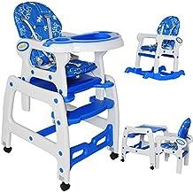 Seelux 3 in 1 sillita trona multifuncional convertible en silla alta, mercedora y silla+mesa (azul)