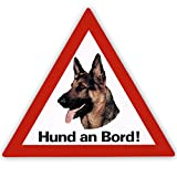 Auto Aufkleber Hund an Bord inkl. 4 World Sticker Aufkleber Schäferhund (Kopf)