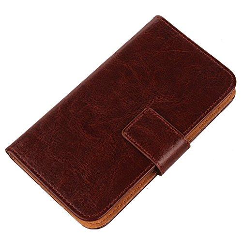 PREVOA ® 丨Flip PU Hülle Cover Case Schutzhülle Tasche für Archos Neon 45 Smartphone - (Braun -)