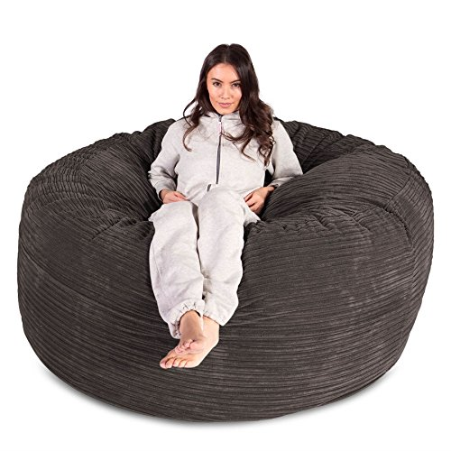 Lounge Pug, Riesen Sitzsack Sofa C1000-L, CloudSac Latexflocken-Mischung, Schlafsofa, Cord Schiefergrau