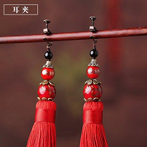 BAGEHAN Die Braut Hochzeit Rot lange Anhänger Ohrringe Dekor Quaste übertrieben Folk Style China Lady 925 Silber Ohrringe Wind U-Form Ohrbügel -