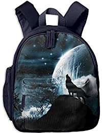 Wolf Howling Full Moon Double Zipper Waterproof Children Schoolbag with Front Pockets For Teens Boys Girl