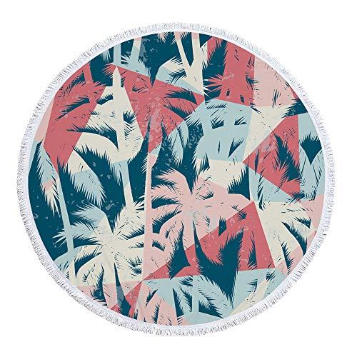Runde Strandtuch Strand Yoga Matten Schal Schal Tapestry Chiffon Tischdecke Picknickdecke Schal,Grüne Pflanze A-5 300 g 150 cm Polyestermaterial