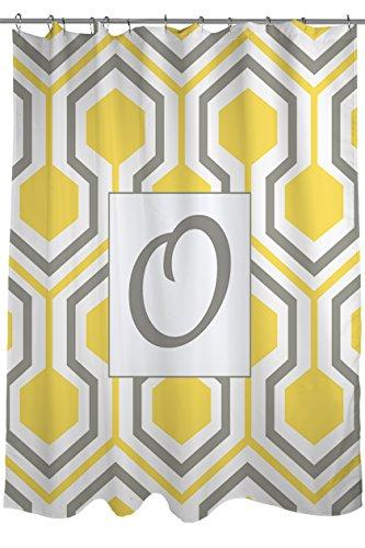 Manuelle holzverarbeiter & Weavers Vorhang für die Dusche, Monogramm Buchstabe O, gelb Honeycomb
