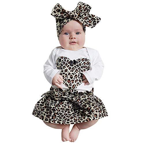 ALISIAM Winter Weihnachten Baby Kleine schön Mode Hautfreundlich Warm halten Lange Ärmel Leopardenmuster Mit Haarband Strampelhöschen Und Minirock Passen ()