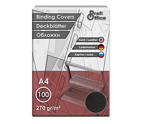 ProfiOffice Deckblätter, DIN A4, Lederoptik, schwarz, A4 270g/m², 100 Stück (29002)