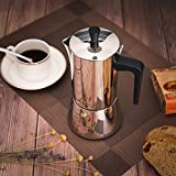 from SONGMICS SONGMICS Stainless Steel Espresso Maker, Stovetop Moka Pot, 300ml 6 Cups Coffee Brewer, Dishwasher Safe KEM10BK