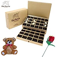 De'Arco Chocolatier Valentine chocolate for girlfriend, Valentines Day Chocolates, Valentines Day Gift Hamper, Premium Valentine Chocolate, 560g + FREE - Teddy and Rose