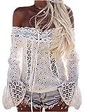 Damen Bluse LOBTY Sommer T-shirt Oberteile Tops Tunika Spitze Elegant Lace Chiffon Trompetenärmel mit Schnürung Blumenmuster Schulterfrei Rückenfrei Langarm Sexy Komfortabel Weiß, Gr. 40/XL