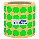 Labelident wiederablösbare Papieretiketten grün matt - Ø 20 mm - 4000 Thermotransfer-Etiketten auf Rolle mit 76 mm (3 Zoll) Kern
