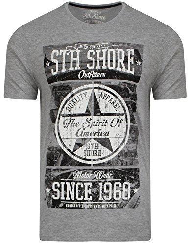 Uomo South Shore Vintage Retro T-shirt Top Con Stampa Grafica - cotone, American Spirito - Grigio Chiaro, 100% cotone, Uomo, XXL - torace 117cm