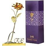COOFIT Rose d'or Cadeaux de la Saint-Valentin Fleurs Rose Eternelle d'Or Rose avec Base et boîte Cadeau comme Cadeau pour la Saint Valentin la Fête d'anniversaire la Fête des Mère