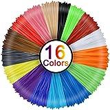 3D Penna Filamento Ricarica PLA 16 Colori, Rusee 1.75mm PLA Fliament Set per la Stampa 3D Hobby Creativi 3D Stampante, 5M Ogni Colore