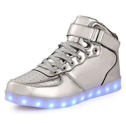 Art Ein Modeschmuck Von Einer (TULUO Kind u. Männer u. Frau USB-aufladende LED 7 Farben-helle hohe SpitzenSneakers Helle Schuhe Silber 42)