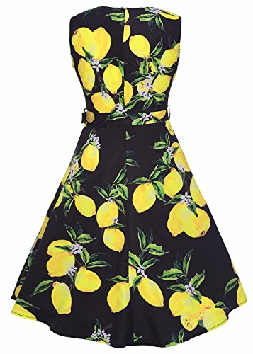 RUIYIGE Damen Kleid Lemon(Black)