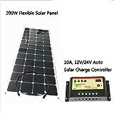 GOWE Flexible Panel Solar 200W 18VDC célula solar monocristalino con 1m cable de conexión de carga 12V recargable