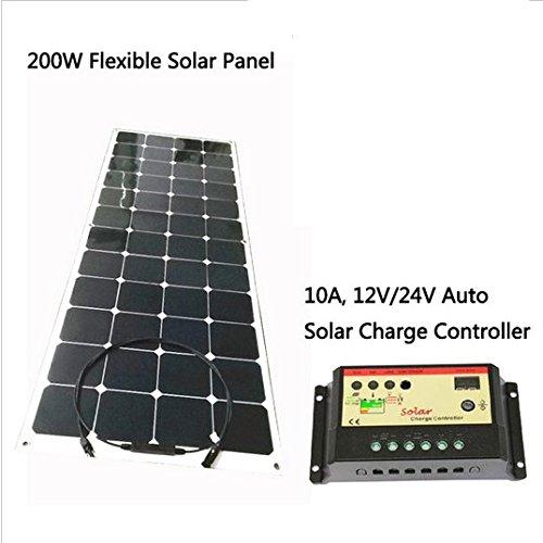 Paquete lista 1, flexible Panel Solar 200W 18V, 1445x 785x 3mm, 1Pieza.2, Cables y Conectores MC4Panel Solar en la parte trasera de la o en la parte frontal de la mesa, pls decidir y nosotros.3, 20A, 12V/24V Auto controlador de carga solar....