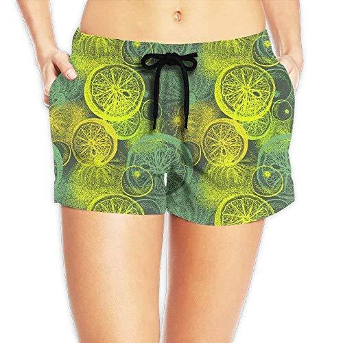 ERCGY Women's Girl Lemon Citrus Pattern Summer Casual Shorts Beach Swim Trunks Pants,M