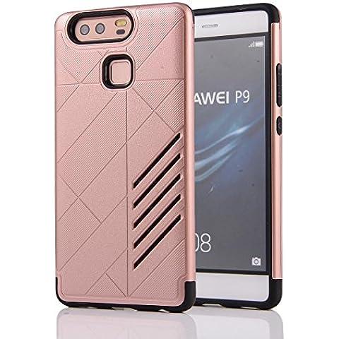Ascend P9Funda para Funda de P9, Huawei P9, M. jvisun diseño bicolour de carcasa a prueba de golpes Resistente al Impacto Protectora Carcasa de plástico + goma iPad Mini Carcasa rígida Unisex Piel para Huawei Ascend P9, plástico caucho, oro rosa, For Huawei Ascend