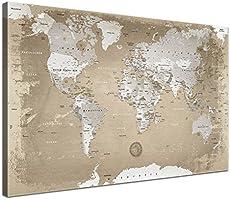 LanaKK - Weltkarte Natur mit Kork Rückwand - edel Leinwand Bild Kunstdruck auf Keilrahmen, Pinnwand für Weltenbummler 100 x 70 cm, einteilig