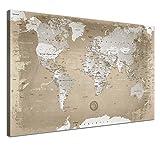 """LANA KK - Weltkarte Leinwandbild mit Korkrückwand zum pinnen der Reiseziele – """"Weltkarte Natur"""" - deutsch - Kunstdruck-Pinnwand Globus in braun, einteilig & fertig gerahmt in 60x40cm"""