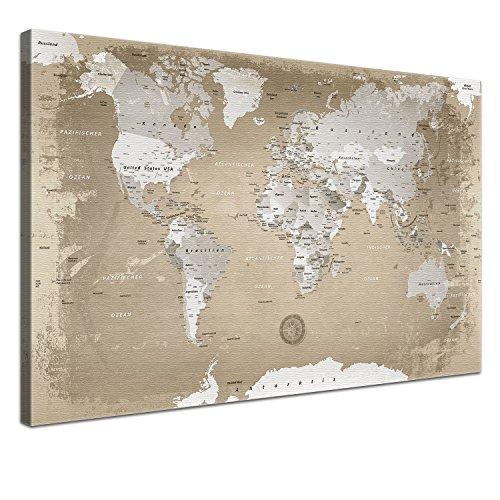 LANA KK - Weltkarte Leinwandbild mit Korkrückwand zum pinnen der Reiseziele - 'Weltkarte Natur' -...