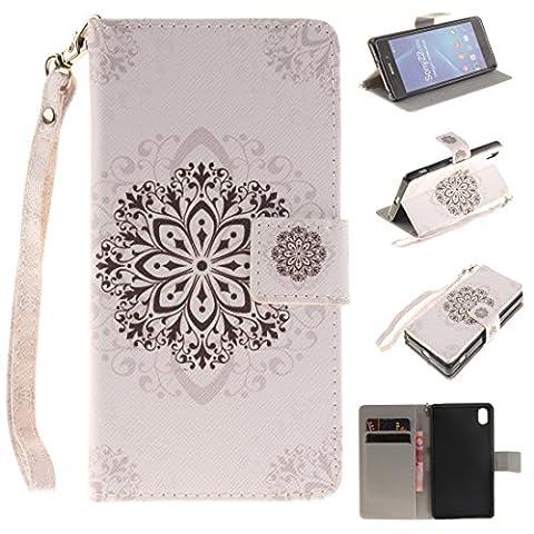 Jepson Sony Xperia Z2 (5,2 Zoll) Handytasche / Handyhülle. Flip Etui Wallet Case in Bookstyle - Premium PU Lederhülle Hülle Cover Mit Lanyard / Strap, Standfunktion, Kreditkarte und Brieftasche.