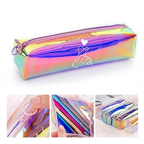 Womdee Astuccio con Cerniera Zip Pencil Case, Astuccio per Matita Laser Trasparente Sacchetto di Penna Trasparente Colorato con Cerniera Borsa da Viaggio Cosmetica da Viaggio