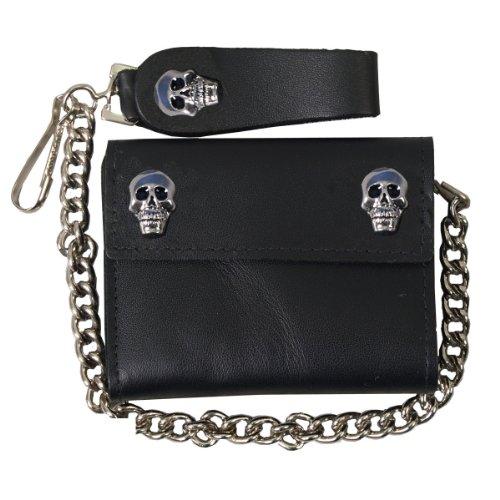 "Hot Leathers (WLA1004 BLACK, 4"") Skull Leather Wallet"