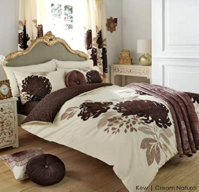 3pc Kew Cream & Natural Double Size Bedding Bed Duvet Cover Quilt Set With Pillowcases - low-cost UK light shop.