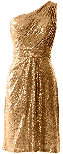 MACloth Women One Shoulder Sequin Cocktail Dress Short Bridesmaid Fomral Gown gold