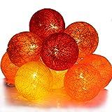 Qbis LED-Lichterkette mit 10 Baumwollkugeln, batteriebetrieben, optioneller Timer - Sunset