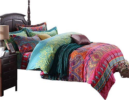 LELVA Ethnische Stil Betten-Sets, Marokko Betten, American Country Style Betten, Bohemian-Stil Betten, Boho Bettbezug, Queen King Size California King-Fitted Sheet Rot -