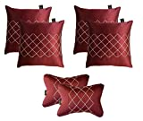 Lushomes Premium Maroon Car Set (4 pcs Cushions & 2 pcs Neck rest Pillow) with Artistic Stitch