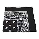 [UK SELLER] BANDANA HEAD SCARF SCARVES PAISLEY MANY COLOURS 100% COTTON (Black)