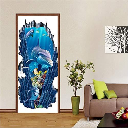 yuyu-beautiful Door Sticker Undersea World Lovely Dolphin Home Decor DIY Self Adhesive Decorative 3D Waterproof Art Wall Decal Mural Wallpaper
