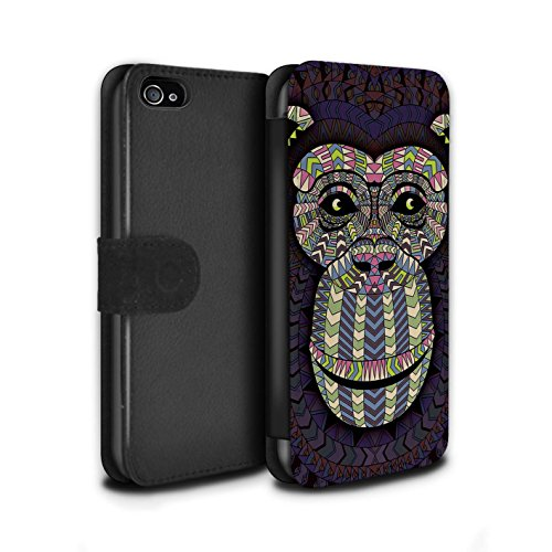 Stuff4® PU-Leder Hülle/Case/Tasche/Cover für Apple iPhone 4/4S / AFFE-Farbe Muster/Aztec Tier Muster Kollektion (Iphone 4s Affe)