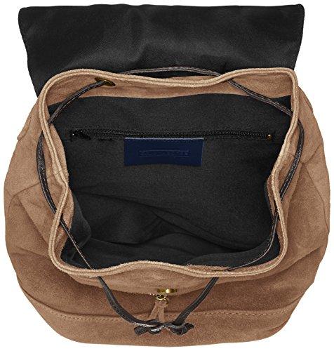 CTM Le sac à dos des femmes en cuir suédé véritable made in Italy 32x38x17 Cm Gris (Fango)