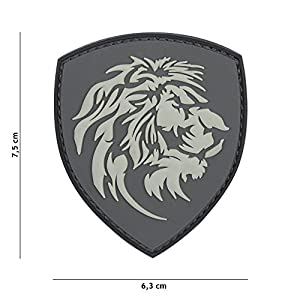 Patch 3D PVC Bouclier Lion Gris / Cosplay / Airsoft / Camouflage