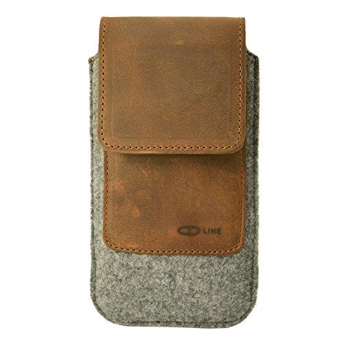 OrLine Handytasche kompatibel mit Alcatel Idol 3C mit Silikon Case. Gürteltasche mit Magnetverschluß und EC-Kartenfach aus Echtleder mit Filz. Schutz-hülle Handy-hülle Braun-Grau Etui
