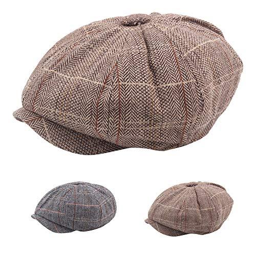 Imagen de ovinee  de tela escocesa para hombre british wind beret octagon hat,unisex,outdoor sportswear,para caza, camping, senderismo, viajes,guapo,mantener,caliente