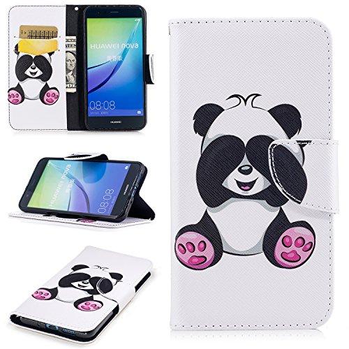 Huawei P10 Lite Hülle im Bookstyle, Huawei P10 Lite Hülle ( 5.2 Zoll) Wallet Case, COZY HUT Farbdruck Muster Flip case Hülle Schutzhülle PU Leder Brieftasche Ledertasche im Bookstyle Tasche Handytasche mit Magnetverschluss Kartenfach Standfunktion Muster Handyhülle für Huawei P10 Lite - Giant Panda (Ausgestattet Alle Hüte)
