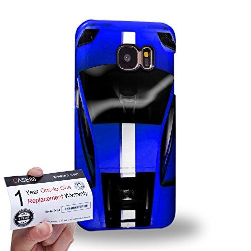 Case88 [Samsung Galaxy S7] 3D Hülle / Schutzhülle & Garantiekarte - Art Design Blue Sport Car