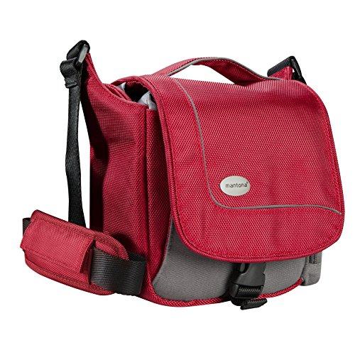 Mantona SportsBag SLR-Kameratasche  rot (sportlich kompakte Umhängetasche) für Bridge Kameras und Micro SLR (Rot Tasche Lux)