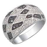 Vir Jewels, Anillo De Mujer 925 Plata Con Negro Diamante 0.7 CT, Talla del Anillo 14