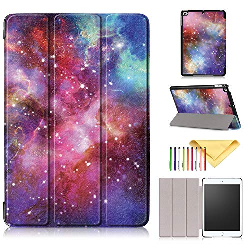 2019 iPad Mini 5 Hülle, iPad Mini 4 Hülle, Cookk Slim Lightweight Skinshell Trifold Stand Smart Cover mit Auto Sleep/Wake für Apple iPad Mini 5 2019 & iPad Mini 4.9 Zoll Tablet #002_Color Star Sky - Mini Tri Fold Wallet