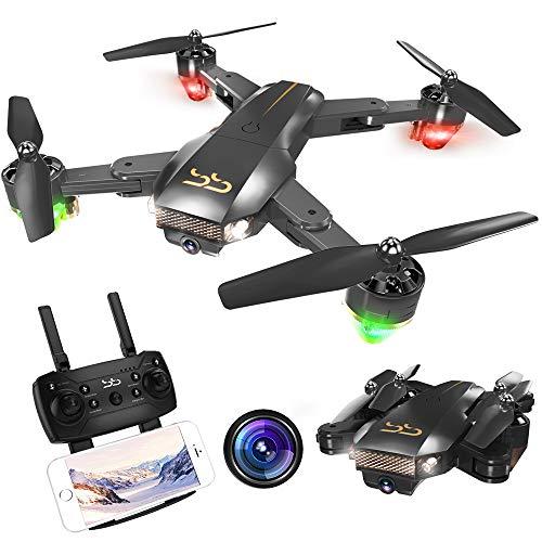 ScharkSpark Drohne Thunder mit Kamera Live Video, RC-Quadcopter, einfache für Anfänger zu steuern, faltbare Arme, 2,4G 6-Achsen, Kopflos-Modus, Höhe halten, Ein-Tasten-Start und- Landung, 3D-Flips (Schritt 2 Toy Box)